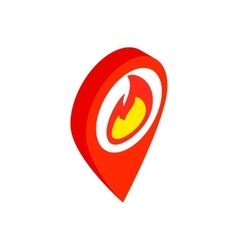 Map marker with a flame isometric 3d icon vector image vector image