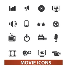 movie and cinema icons set vector image vector image