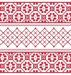 Red winter embroidery pattern vector
