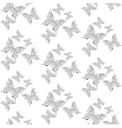 seamless pattern with butterflies outline drawing vector image vector image