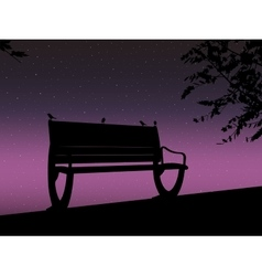 Stencil bench against the backdrop of a starry vector image vector image