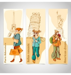 Urban people vertical banners sketch colored vector image