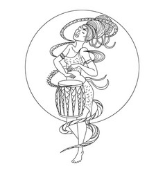 african woman playing drum coloring book vector image