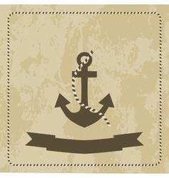 anchor marine on grunge background vector image