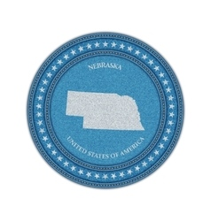 Label with map of nebraska Denim style vector image vector image