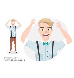 the guy is happy and smiling vector image vector image