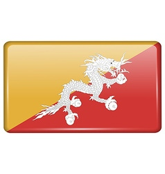 Flags Bhutan in the form of a magnet on vector image vector image