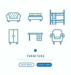 furniture thin line icons set vector image