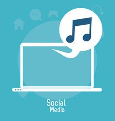 laptop social media bubble music note vector image vector image