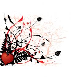 silhouette love floral vector image vector image
