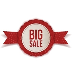 Big Sale Christmas realistic red Label with Ribbon vector image