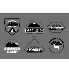 Camping logos set outdoor emblems labels vector image