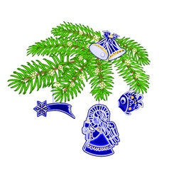 Christmas decoration branch with blue faience vector