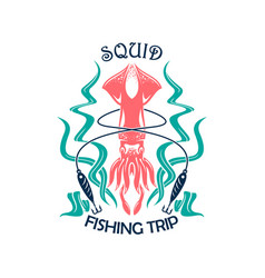 fishing trip sporting symbol with squid vector image vector image