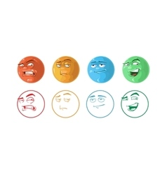 Icon set of feedback emoticons vector