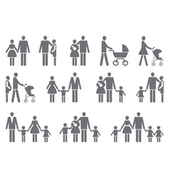 icons of a traditional family with children vector image