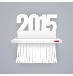 Paper 2015 is Cut into Shredder on Gray vector image