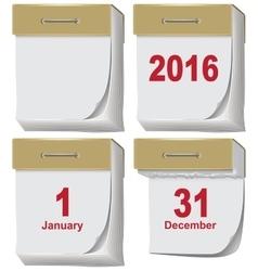 Set of tear-off calendar 2016 vector image vector image