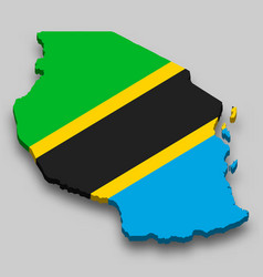 3d isometric map tanzania with national flag vector