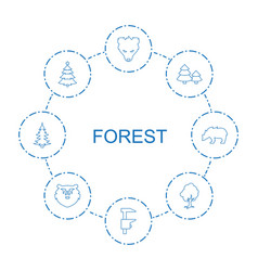 8 forest icons vector image