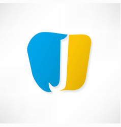 abstract icon based on the letter j vector image