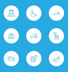 Airport icons line style set with sitting man vector