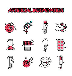 Artificial insemination flat icons set vector