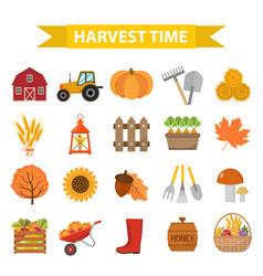 Autumn harvest time icons set flat cartoon style vector