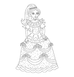 Beautiful princess in shining dress with spangles vector