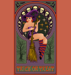 beautiful witch with a broom art nouveau style vector image