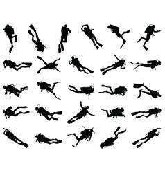 Black silhouette scuba vector