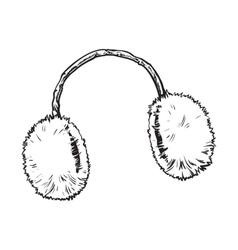 Bright fluffy fur ear muffs vector