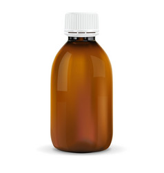 Brown plastic bottle with white cap for medicine vector