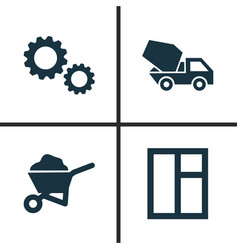 Building icons set collection cogwheel carry vector