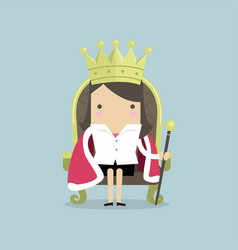 Businesswoman sitting on the throne like a queen vector