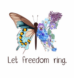 Butterfly slogan with butterfly vector