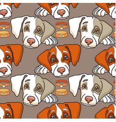 Cartoon dog on grey seamless pattern vector