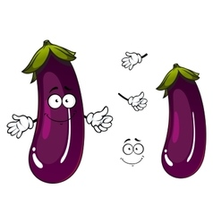 Cartoon fresh purple eggplant vegetable vector image