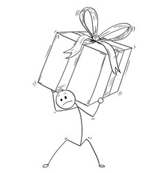 cartoon of man or businessman carry large gift vector image