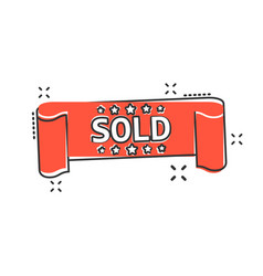 Cartoon sold ribbon icon in comic style discount vector