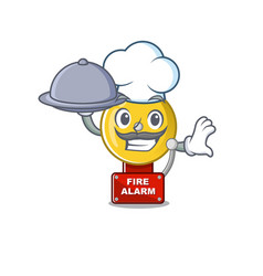 Chef with food fire alarm with character shape vector