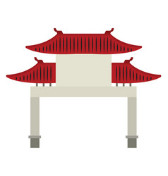 Chinese gate on white background vector