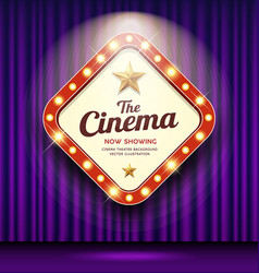 Cinema theater sign shaped square light up purple vector