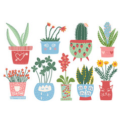 collection blooming plants in colorful pots vector image