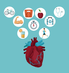 color background with heart organ and icons in vector image