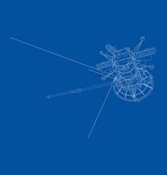communication satellite concept outline vector image