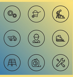 construction icons line style set with maintenance vector image