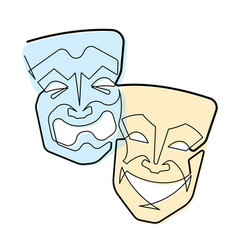 Continuous line comedy and tragedy masks vector