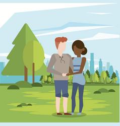 couple man and woman interracial vector image