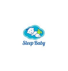 Creative logo and cute baby for logo sleep baby vector